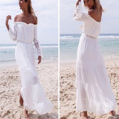 Suda Women Sexy Strapless Beach Summer Long Dress Dresses Beach Dresses