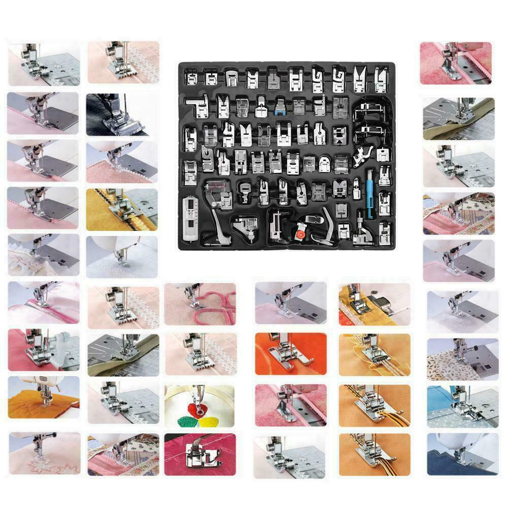 US 52pcs Domestic Sewing Machine Foot Presser Feet Set For Brother Singer Janome