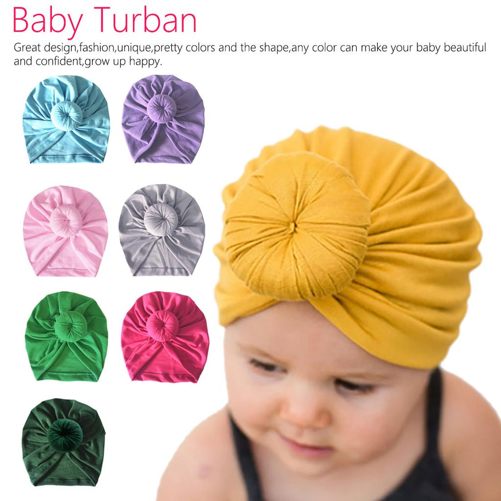 Infant Toddler Hair Accessories Cotton Turban Knot Donut Hat Head Wrap Headband