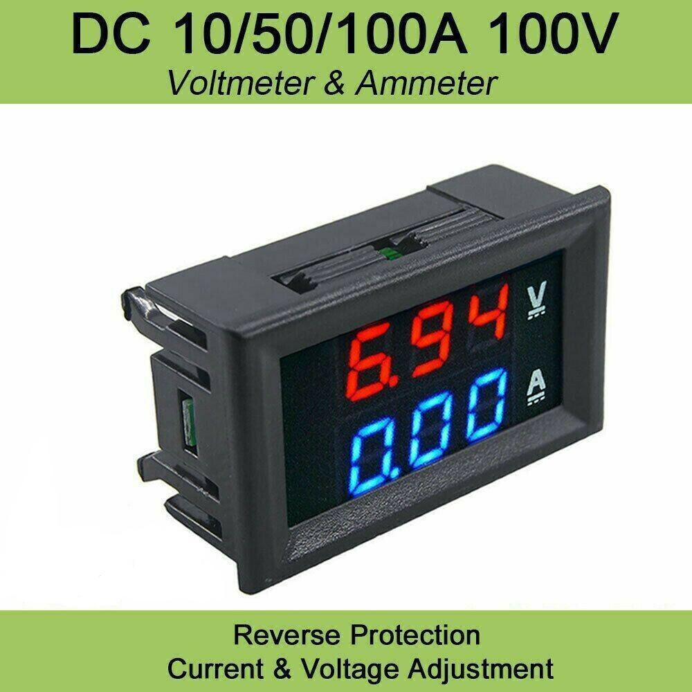 DC0-200V 10//50//100A LED Voltage Current Temperature Digital Power Energy Meter