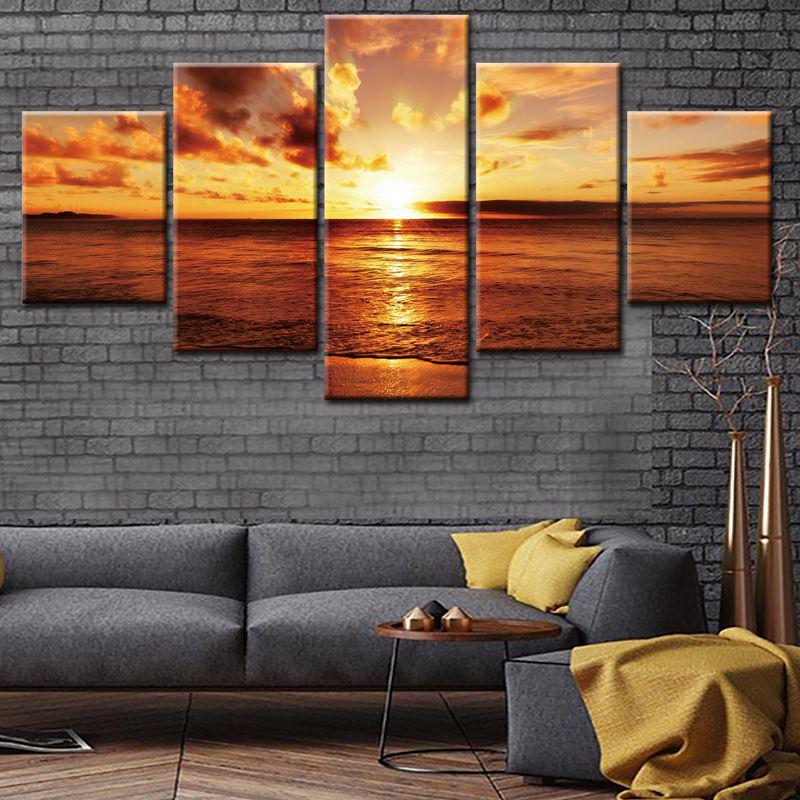 Pared arte lienzo impresiones puesta del sol en la playa del mar ...