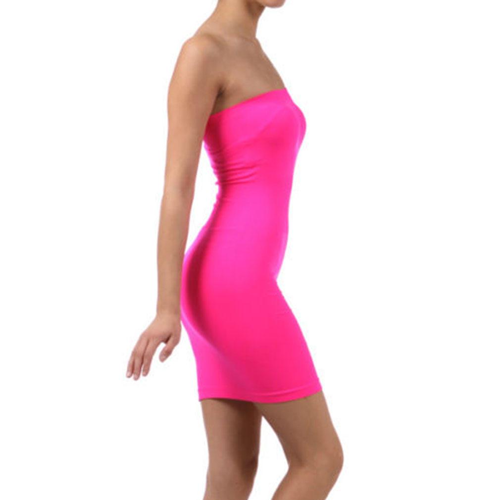 Tubo elástico Mini vestido sin tirantes Stretch apretado cuerpo-con ...