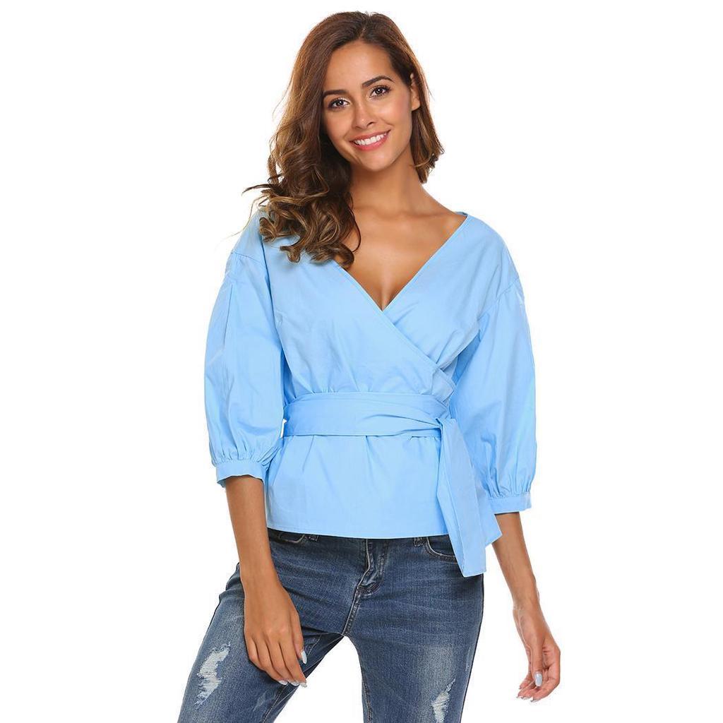 Slim V-Neck Patchwork Color Womens Long Flare Sleeve Side Slit Blouse by Vertily
