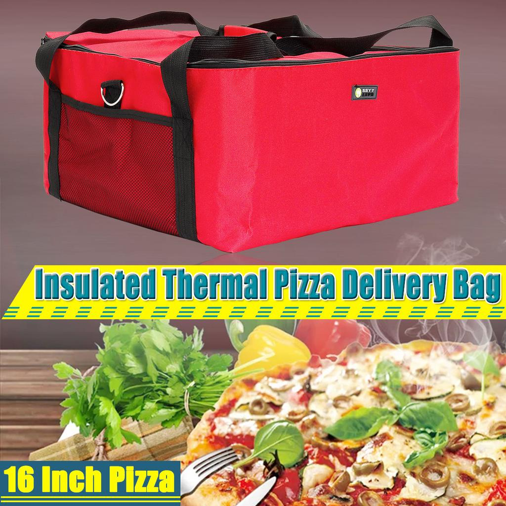 16 Pizza Delivery Bag Thermal Insulated Carry Backpack Food Delivery Bag Holds