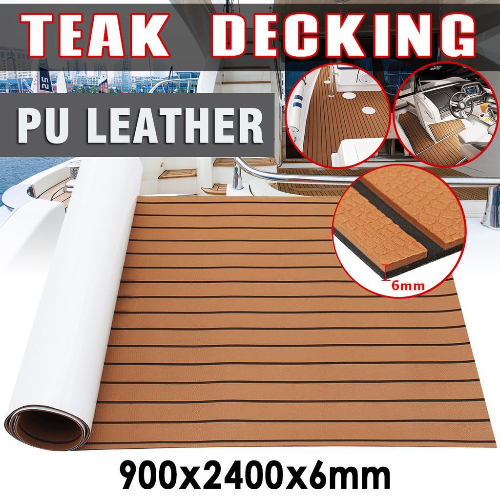 2400X900X6MM Brown EVA Foam Boat Marine Yacht Floor Mat Faux Teak Decking Sheet