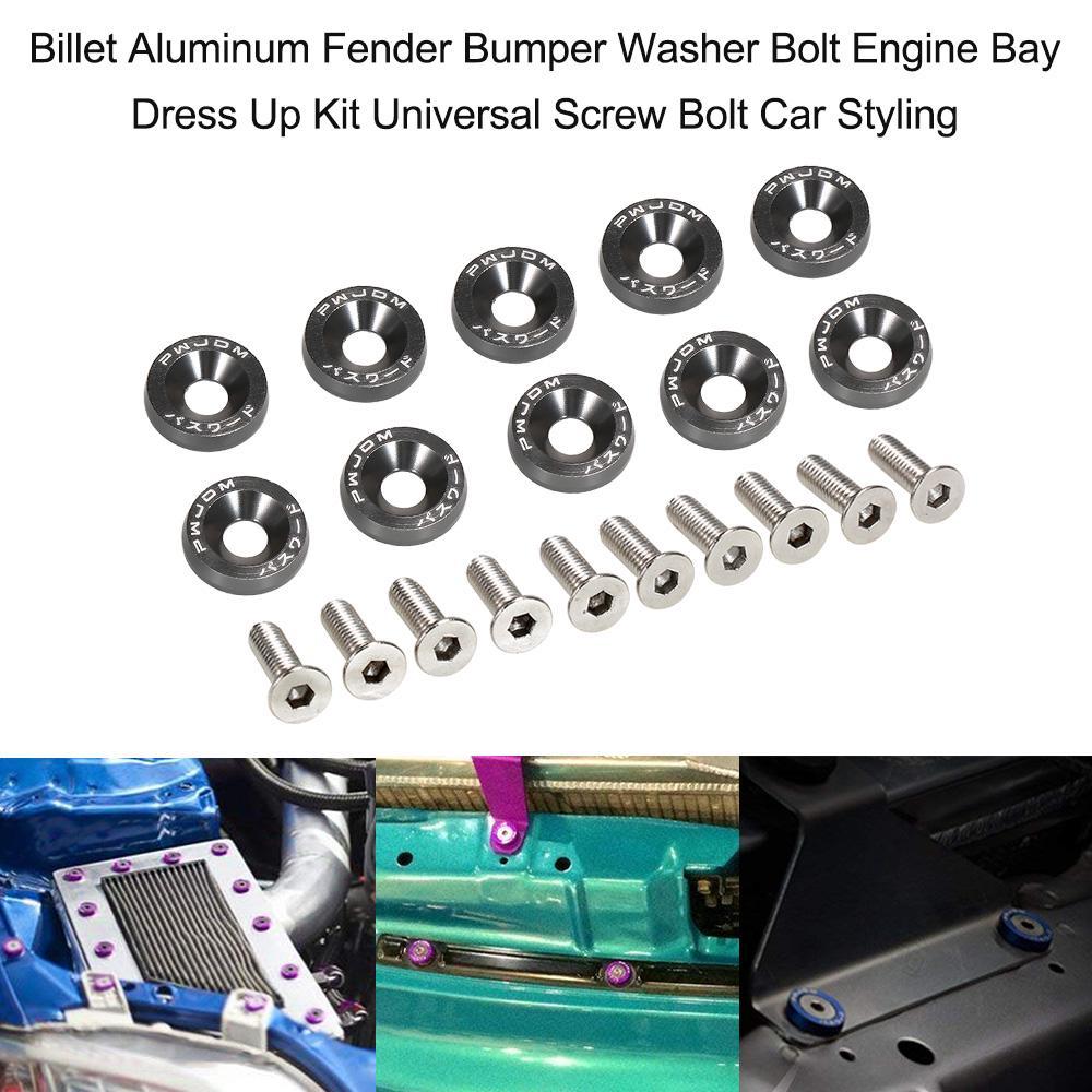 Golden Bumper 20pcs Aluminum Washers Engine Dress Up Bolts Assortment Kit for Car License Plate Frame Fender