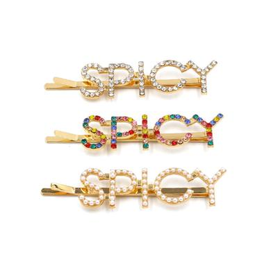 Letter SPICY Hairpins Crystal Shiny Rhinestones Pearl Hair Clips Women Hairgrip