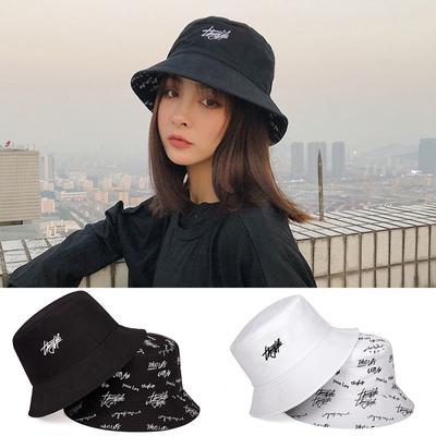 Double-Sided Tide Sun Hat Fisherman Hat Basin Hat Print Letter Bucket Hat Hip
