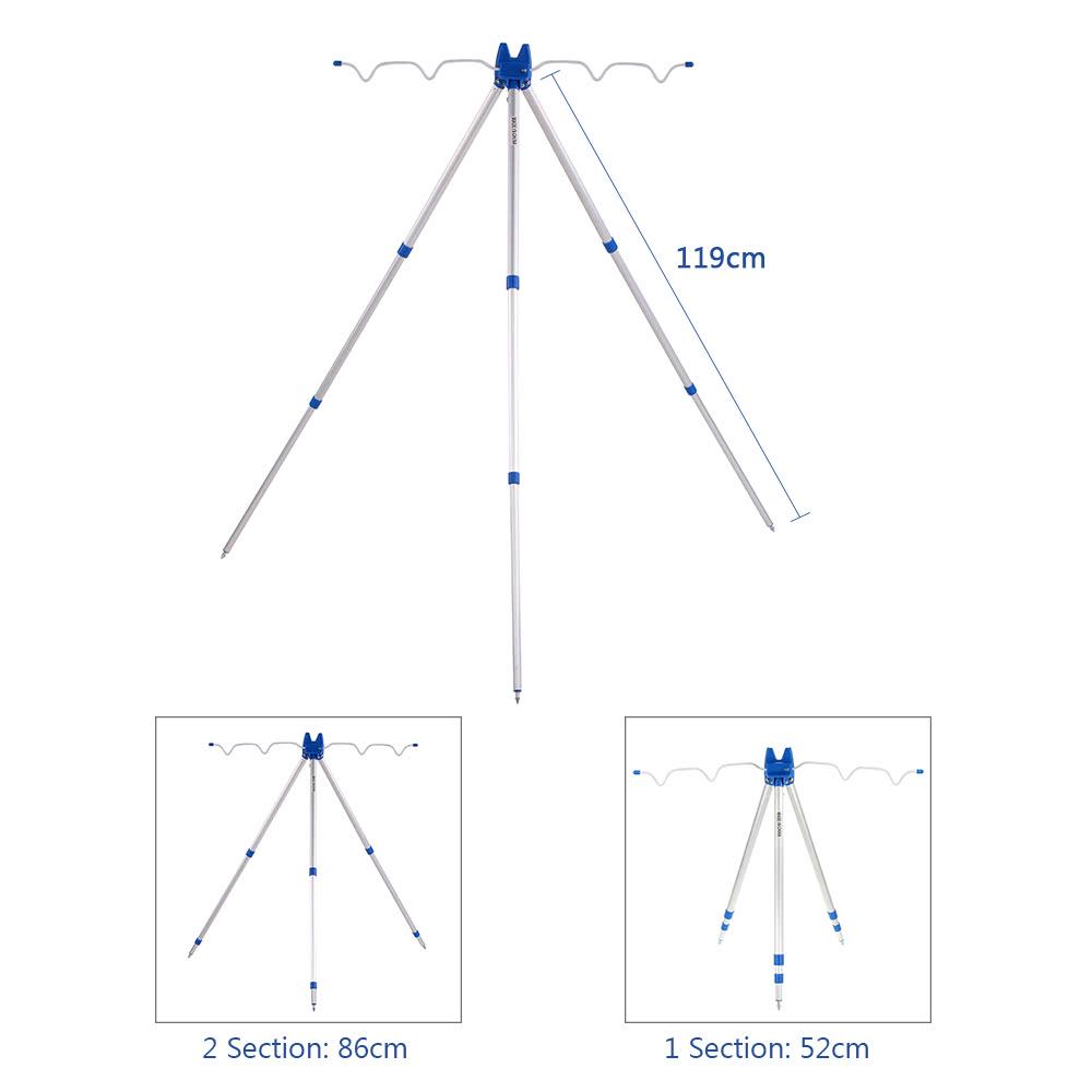 Fuyamp Telescopic Aluminum Alloy Fishing Rods Tripod Stand Rest for Sea Beach Shore Pier Tackle