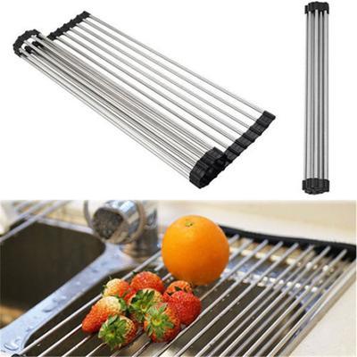 Stainless Steel Sink Dryer Rack Folding Holder Roll Up Kitchen ...