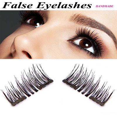 269d5696073 Handmade Beauty 3D Dual Magnetic Eyelashes Make Up Tools Eyes Thick Cross False  Eye Lashes Extension