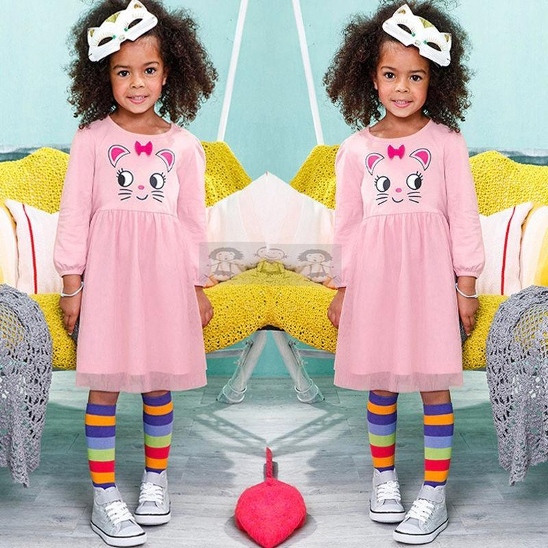 2-7 años niñas ropa niños Cat Vintage manga larga Tutu Falda niños ...