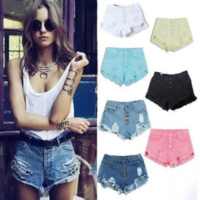 79afbc002731 High Waisted Washed Ripped Hole Short Mini Jeans Pants Denim Shorts Women  For girl