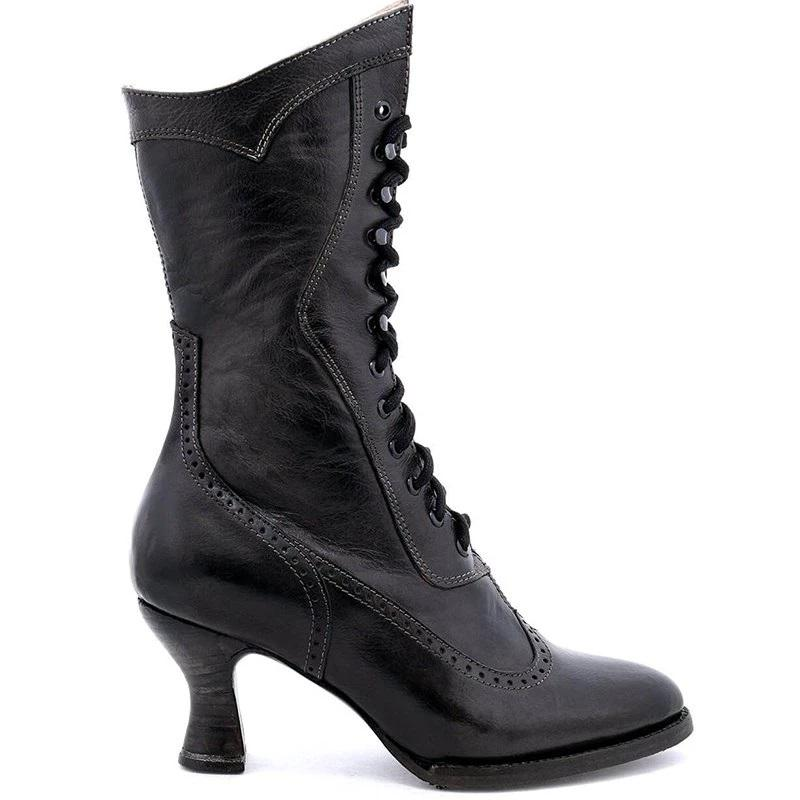 Womens Ladies Platform High Kitten Heels Ankle Boots Lace Up Shoes Barrel Boots