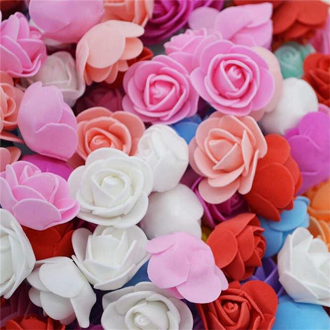 200Pcs Artificial Foam Flowers Fake Rose Heads Wedding Bouquet Party Xmas Decor