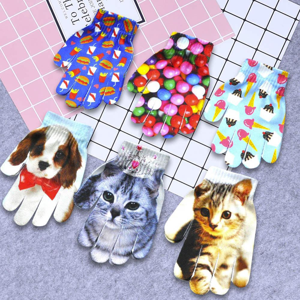 Girls Cute Velvet Winter Warm Plush Fashion Mittens Cartoon Animal Splice Gloves