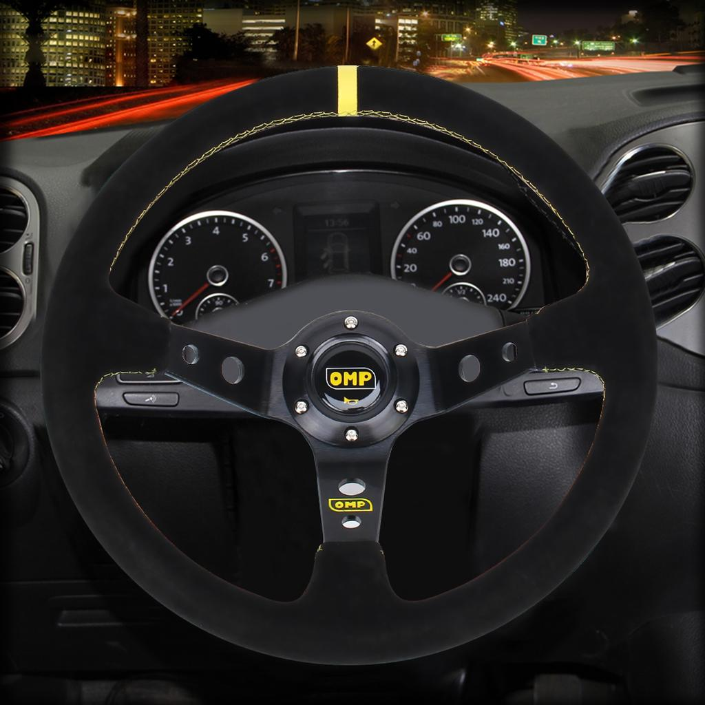 Car Steering Wheel Universal 35cm//14inch 6-Bolts Auto Car Racing Steering Wheel with Horn Red