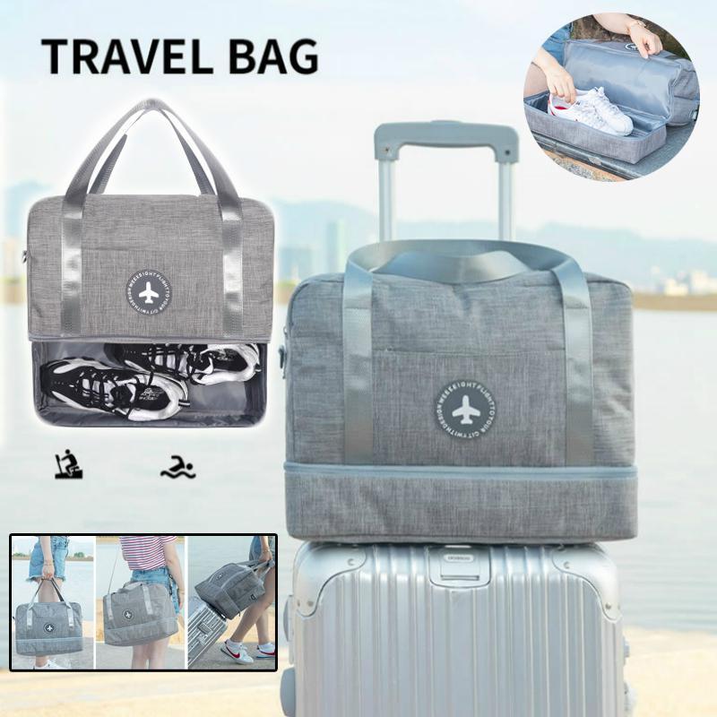 Travel Luggage Duffle Bag Lightweight Portable Handbag Red Wine Print Large Capacity Waterproof Foldable Storage Tote