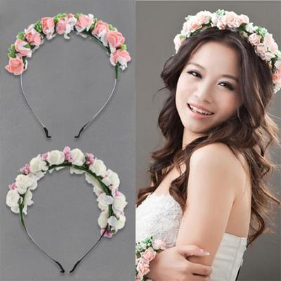 Flower garland floral bridal headband hairband wedding prom hair pinkwhite flower boho floral headband garland festival wedding bridal hairband mightylinksfo