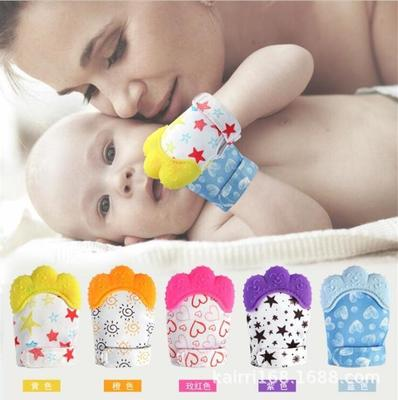 8 Design Cute Baby Silicone Teether Mitts Teething Mitten Glove Candy Wrapper Sound Toy Gifts
