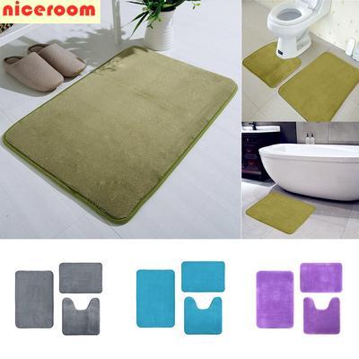 U Shaped Memory Foam Bath Mats Toilet Mat Bathroom Coral Fleece Carpet Home De Sfhs Org