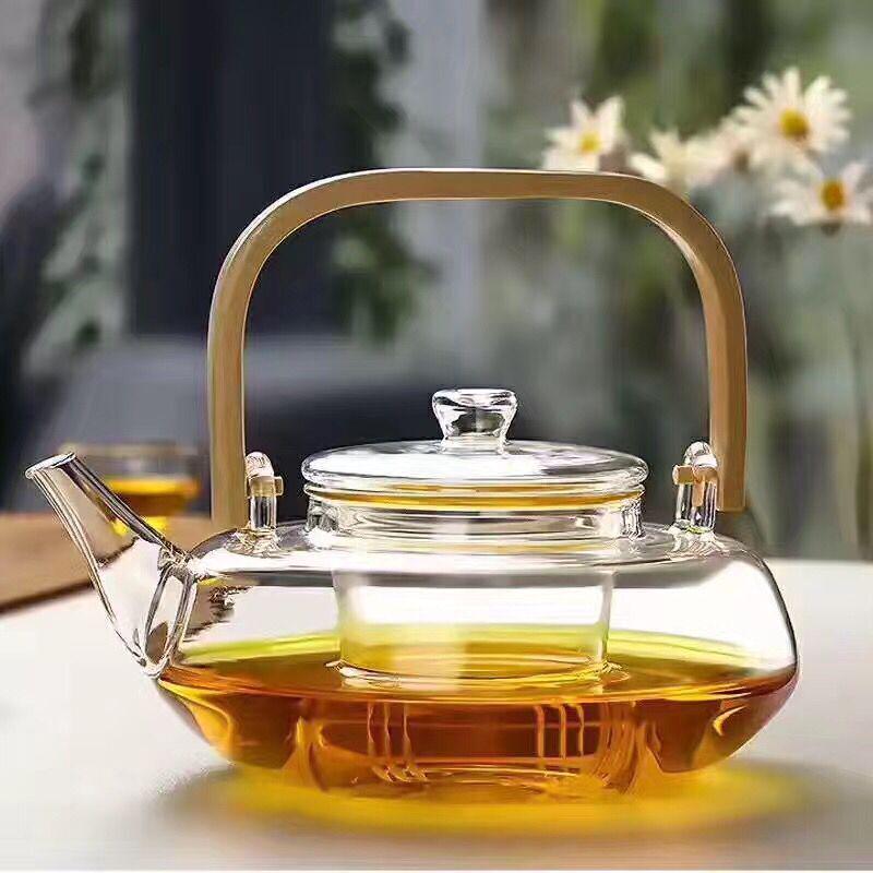 Термостойкий чайник, стеклянный чайный набор, бамбуковое ситечко, ручка, прозрачная плита, чайники, 800 мл – купить по низким ценам в интернет-магазине Joom