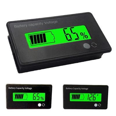 12V 24V 36V 48V Lead Lithium Battery Voltage Tester LCD Capacity Meter Black