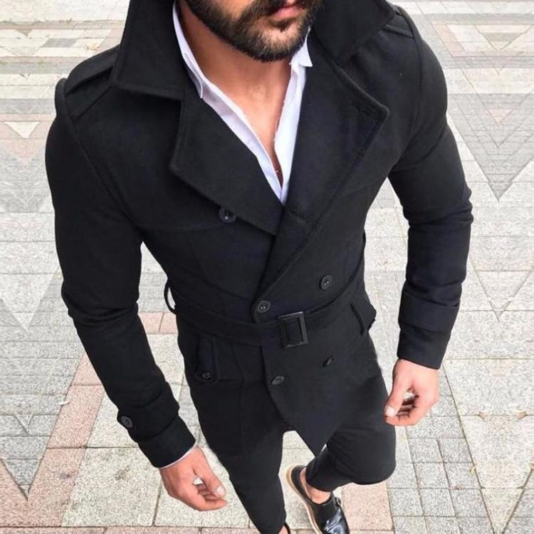 Mens Trench Coat Slim fit Long Lapel Double Breasted Belted Windbreaker Jacket Windproof Button Overcoat