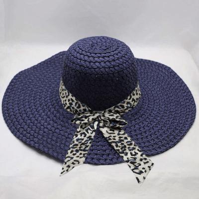 Women Colorful Big Brim Straw Bow Hat Sun Floppy Wide Brim Hats Beach Cap