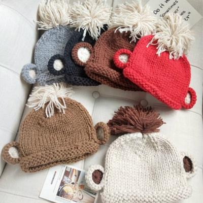Cute Winter Mom Women Baby Kids Crochet Hat Dual Ball Baby Caps Girls  Hairball Ear Baby cbf176853