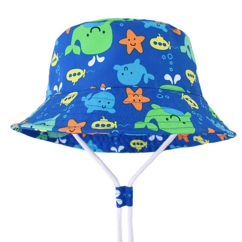 Baby Boys Cotton Fisherman Style Blue Whale Sun Hat Reversible
