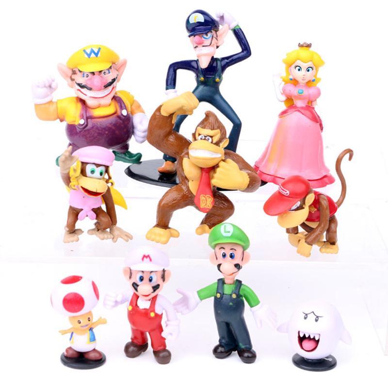 Super Mario Bros Peach Toad Wario Luigi Yoshi Bowser Kong Action Figures Toy 5/'/'