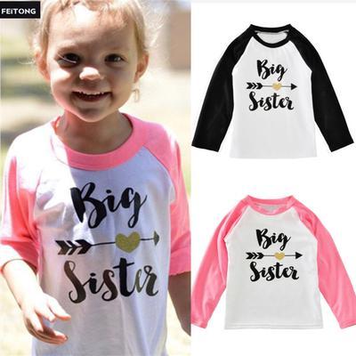 92d09cbee1c Малыш ребенок дети девочек Одежда письмо печати длинным рукавом Футболка  блузка топы