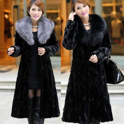 Water Mink Fur Coat Fox Big Collar, Large Size Faux Fur Coats