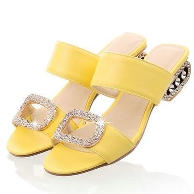 2ec04a6ada Damskie sandały Damskie letnie kapcie Low Heels Sandały Modne pomarańczowe  buty Rhinestone