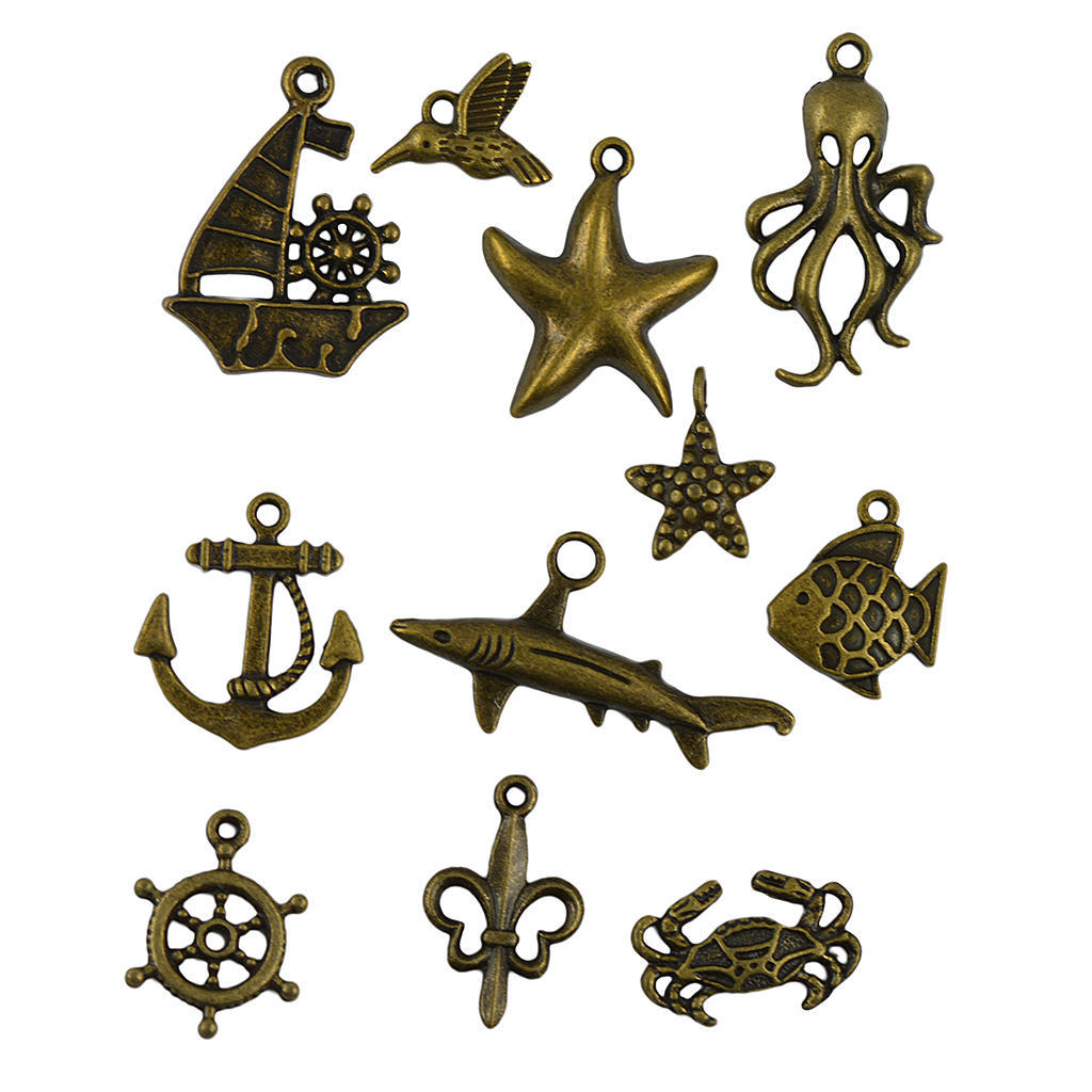 50x Retro Antique Mixed Nautical Boat Anchor Pendants DIY Jewelry Making