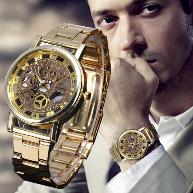 1PC Случайный Бизнес Смотреть Холлоу Механические Gear Часы Мужская кварц Смотреть Мода Подарок фото