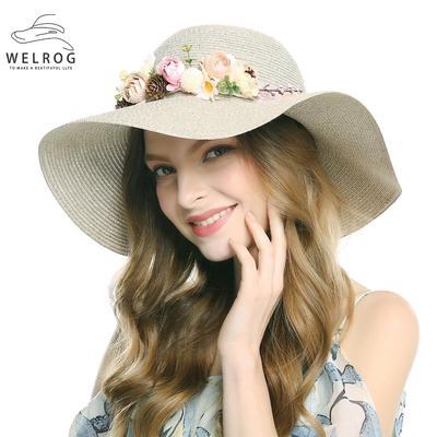 WELROG mujeres paja sombrero sombrero playa flor diadema plegable Alón  Floppy Cap 5b4ac795eae