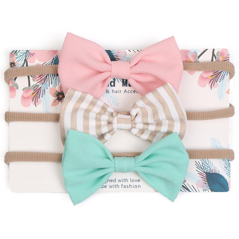 3Pcs//Set Toddler Baby Girls Bow Headband Hairband Headwear Hair Accessories