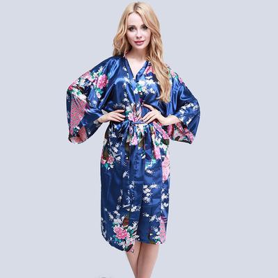 e806f0f3b8 Women Satin Long Robe Floral Peacock Printed Bathrobe Kimono Robe Oversize  Size Dressing Gown