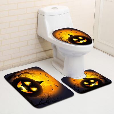 3x Halloween Pumpkin Lantern Bathroom Mat Toilet Seat Cover Cushion Bath Pad Set