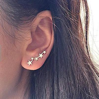 Moon Star Ear Climber Tiny Star Moon Stud Earrings  Women Teen Mothersday Celestial Jewelry Earrring