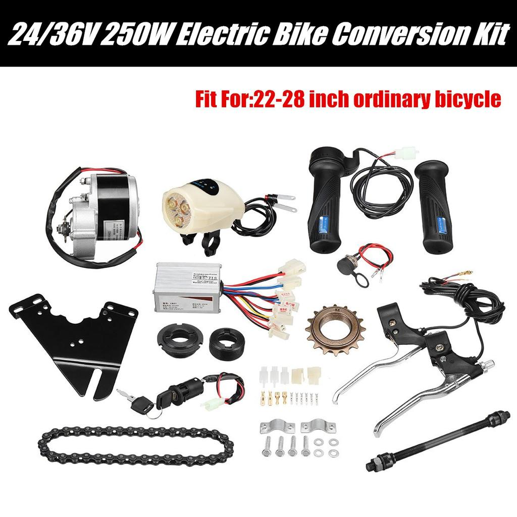 24V 250W Electric Bicycle Conversion Kit E-Bike Drive Motor Lift Chain Freewheel