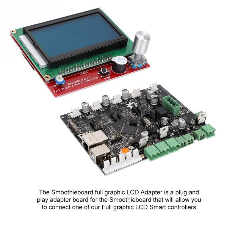Smoothieboard 5X V1.1+12864 LCD Display Kit With Adapter Plate For 3D Printer