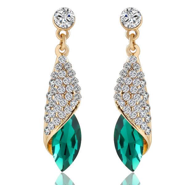 满钻宝石玻璃水滴耳环耳钉海洋之心同款气质耳坠