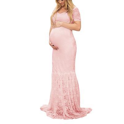 729419459 Las mujeres ropa de maternidad Sexy fotografía embarazadas apoyos hombros  del vestido largo de encaje