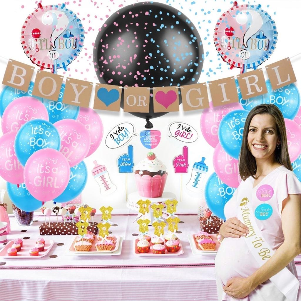 Its A Boy//Girl Latex Sequin Balloons Set Baby Gender Revealed Party Decor