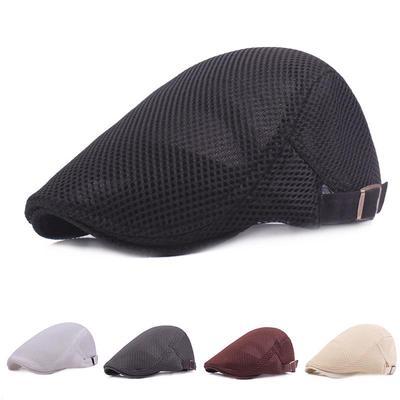 09b1904e424 Men Breathable Mesh Summer Hat Newsboy Hat Ivy Cap Cabbie Beret Irish Flat  Cap