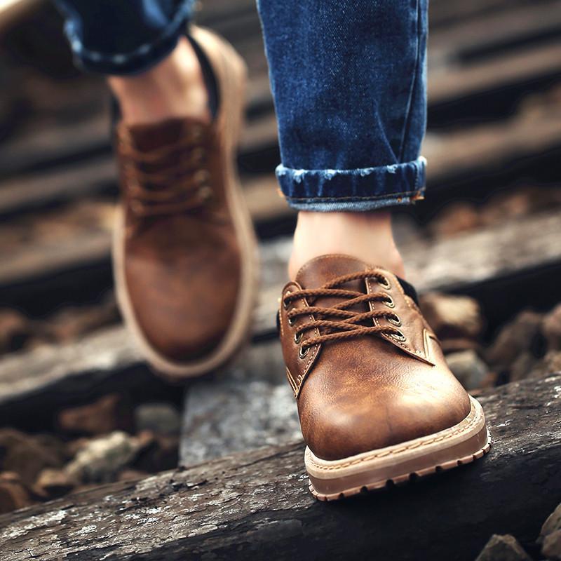 Мужская обувь Инструментальная обувь Корейский тренд Повседневная обувь  Дикая большая обувь Молодежная обувь купить недорого — выгодные цены,  бесплатная доставка, реальные отзывы с фото — Joom