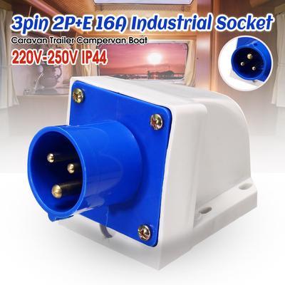 16 Amp 220V-250V 3 Way Electric Mains Hook Up Adaptor Connector Caravans IP44